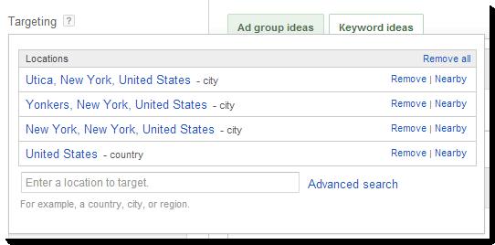 keyword planner: targeting by location