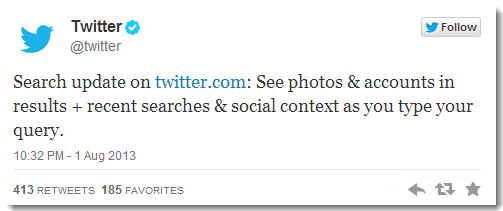 twitter announced universal search