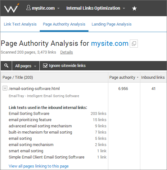 optimize your internal link structure with WebCEO Online