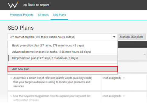 Adding a new plan in your SEO project