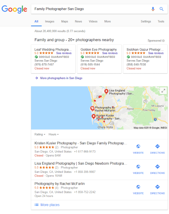 Results of local SEO for photographer sites.