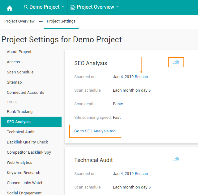 Configure all of your SEO tools at once in the new Project Settings.
