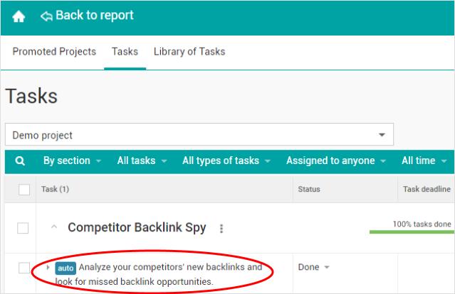 A new SEO auto-task: analyze your competitors' backlinks.